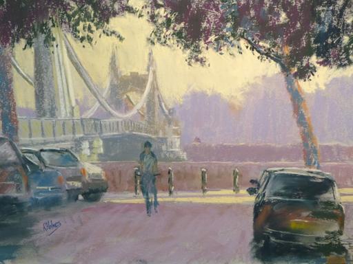 Rick Holmes Pastel 14 x18 ins Hammersmith Bridge