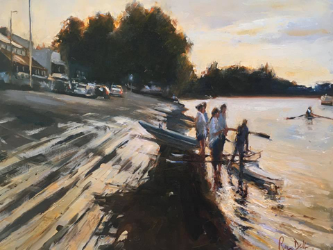 Evening training, Putney 20x16